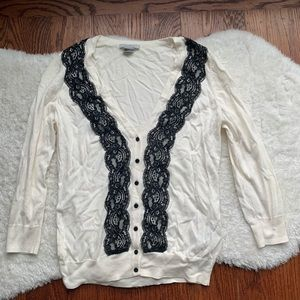 H&M White & Black Lace Trim 3/4 Sleeve Cardigan S